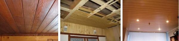 Подшивка потолка деревянной вагонкой